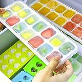 Vssictor - Cubitos de hielo, pack de 4 unidades, silicona fácil de soltar y flexible con tapa extraíble a prueba de fugas, apilable, duradero y apto para lavavajillas