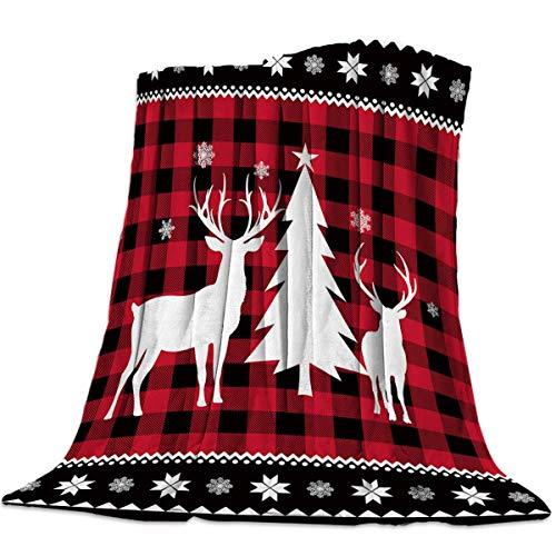 Manta de Franela 150X125cm,Manta Felpa Suave Shaggy Fleece, Lavable a máquina, Manta de Tiro para niños Adultos Manta de Franela Impresa (Ciervo de Navidad)