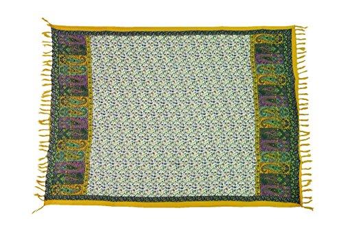 Ciffre Original Yoga Sarong Pareo Wickelrock Strandtuch Rund ca 170cm x 1110cm Handtuch Schal Kleid Wickeltuch Wickelkleid Traditionell Bali Tempel Sari