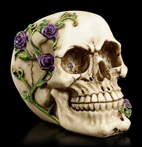 Figuren Shop GmbH Gothic Totenkopf - Rose from Beyond - lila | Fantasy-Dekoartikel, handbemalt