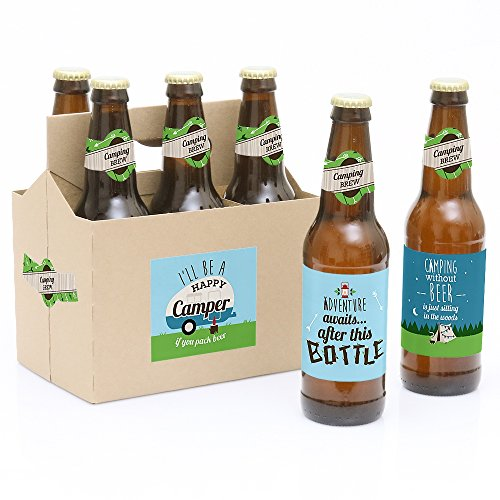 Happy Camper - Camping Baby Shower or Birthday Party Decorations for Women and Men - 6 Beer Bottle Label Stickers and 1 Carrier