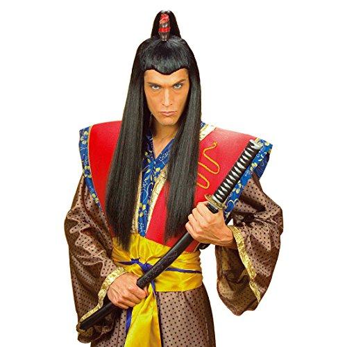 NET TOYS Schwarze Asia Herren Perücke Samurai Chinese Japaner Asiate schwarz Samuraiperücke Kostüm Accessoire Fasching