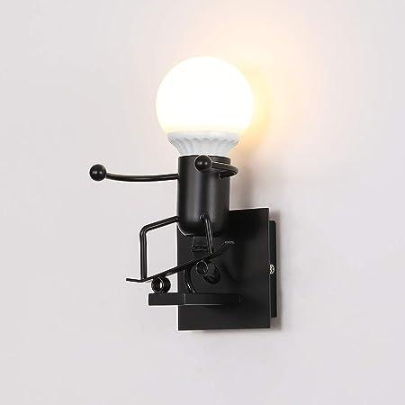 Applique Murale Rétro, E27 Métal Robot Lampe pour Bar,Chambre à Coucher,Cuisine,Restaurant, Café, Couloir