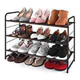 Simple Trending 3-Tier Stackable Shoe Rack, Expandable & Adjustable Fabric Shoe Shelf Storage Organizer, Bronze