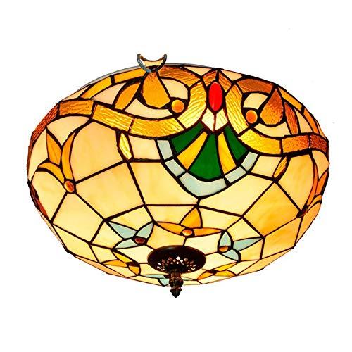 HOUTIAXDYT Lámparas de Techo barroca de 16 Pulgadas, lámpara de Techo de Vidrio de Estilo Tiffany, lámpara de Techo para Dormitorio, Pasillo, balcón, Entrada, Accesorios de Hierro, E26 / E27 x 3