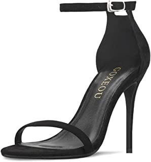 GOXEOU Women's Ankle Strap Heeled Sandals Round Open Toe High Heels Party Evening Dress Sandals - 4inch