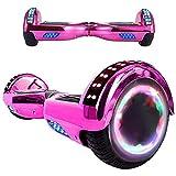 Magic Way Hoverboard - 6.5' - Bluetooth - Motor 700 W - Velocidad 15 km/h - LED - Patinete Eléctrico Auto-Equilibrio - para niños y Adultos (Rosa Cromado)