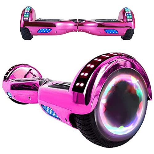 Magic Way Hoverboard - 6.5  - Bluetooth - Motor 700 W - Velocidad 15 km h - LED - Patinete Eléctrico Auto-Equilibrio - para niños y Adultos (Rosa Cromado)