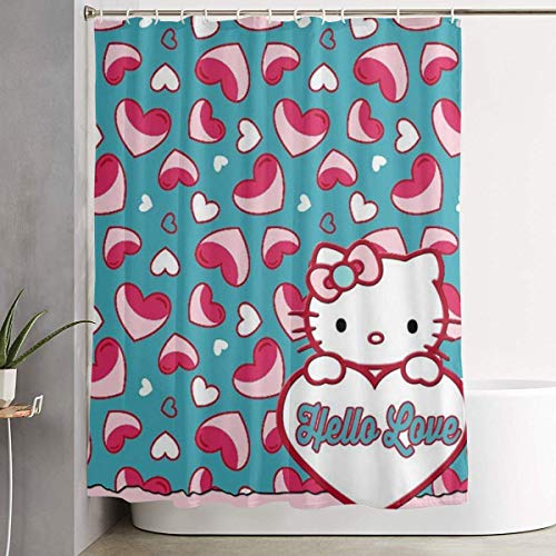 DHGER Tenda da Doccia Funny Fabric Shower Curtain Hello Love Kitty Waterproof Bathroom Decor with Hooks 60 X 72 inch