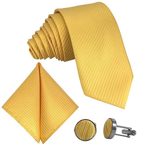 GASSANI 3-SET Gelbe Krawatte Streifen gestreift   Binder Gelb Manschettenknöpfe Einstecktuch   Krawattenset zum Anzug Seide-Optik