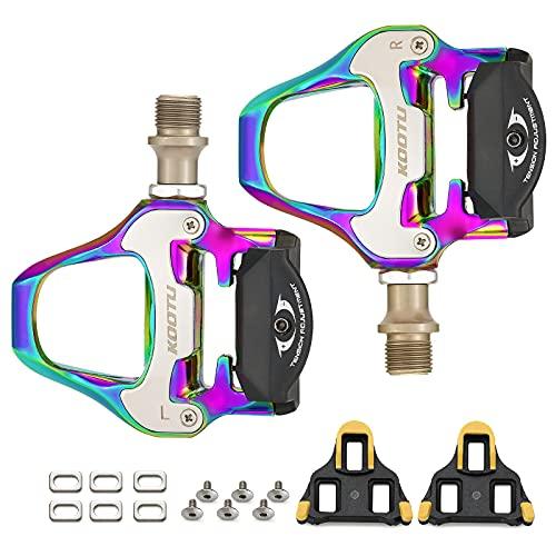 Pedali per bici da corsa KOOTU, ultraleggeri con 9/16' Clickpedals in lega di alluminio, compatibile con Look KEO Struttura per biciclette da corsa