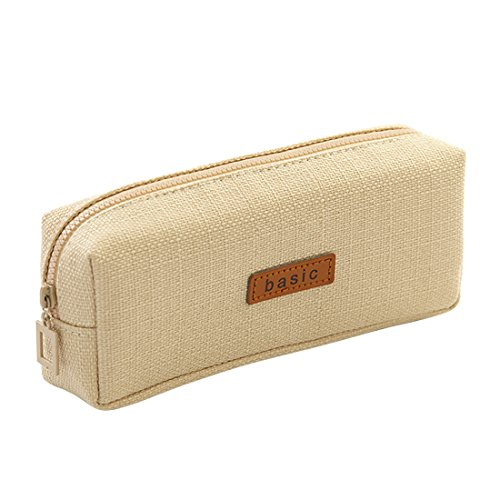 iSuperb Cotton Linen Pencil Case Student Stationery Pouch Bag Office Storage Organizer Coin Pouch Cosmetic Bag (Beige)