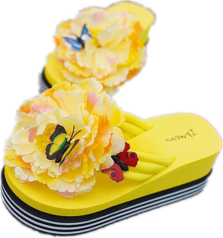 FORTUN Summer Fashion Sandals Women's flip-Flops Flowers Beach Slippers