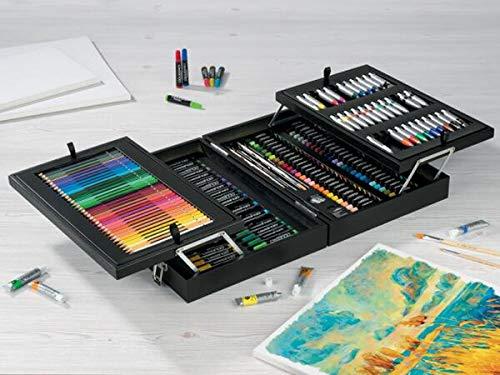 Maletin de pinturas y bellas artes 174 piezas desplegable con tizas pastel, rotuladores, lapices de colores pinturas acrilicas y al oleo