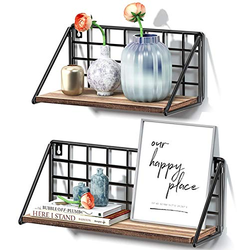 STOREMIC Floating Shelves 40cm Rustic Shelf for Wall, Easy to install and Sturdy Wall Shelves Set of 2, Room Decor for Bedroom, Kitchen Bathroom, Living Room