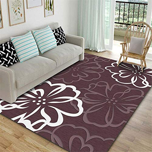 Sofas de Salon Alfombra Alfombra Resistente a la decoloración con Estampado Floral de Graffiti Simple en Rojo Oscuro y Blanco hogar Decoracion Salon Alfombra alfombras habitacion Juvenil 100*200cm