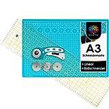 OfficeTree Set de Estera para Corte - 45x30 cm (A3) Azul + Cortador rotatorio + Regla 60 x 16 cm Trabajos de Corte Profesionales -