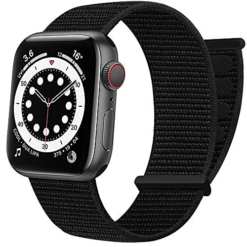 AdMaster Cinturino Sportivo in Nylon Compatibile con Apple Watch 42mm 44mm 45mm, Elastico Regolabile in Tessuto Intrecciato Donne Uomini Band per iWatch Serie 7 SE 6 5 4 3 2 1 Nero Scuro