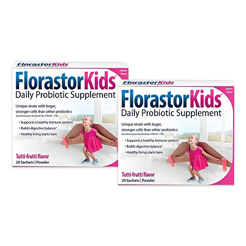 Florastor Daily Probiotic Supplements for Kids, 250 mg, 20 Sachets (Pack of 2)