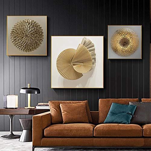 LLXXD Cartel de Lujo de Oro Negro Moderno Pintura de Lienzo Abstracto Arte de Pared nórdico Imagen de impresión Sala de Estar Decoración del hogar 20x20cm 30x30cm 50x50cm (sin Marco)