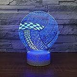 Luz de noche 3D, Creativo Visual Resumen Voleibol Accesorio de modelado Mesa de noche Dormir Novedad Artículos deportivos Regalos 7 Cambio de colores para niños Regalo de Navidad