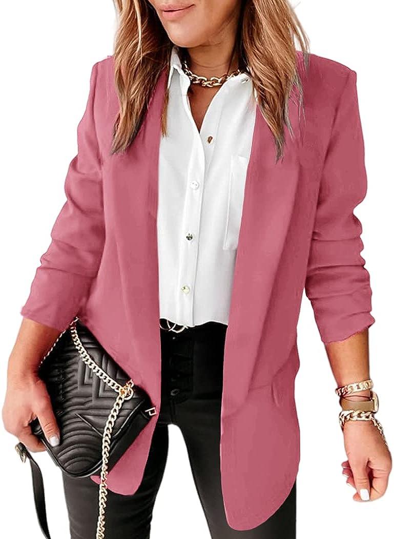 Langwyqu Womens Casual Open Front Blazers Long Sleeve Work Office Jacket Blazer