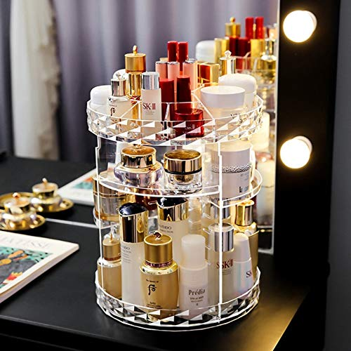 360 Rotating Makeup Beauty Organizer Acryl Box Kommode Lippenstift Hautpflege Regal Diamant Muster Kosmetik Empfangsboxen