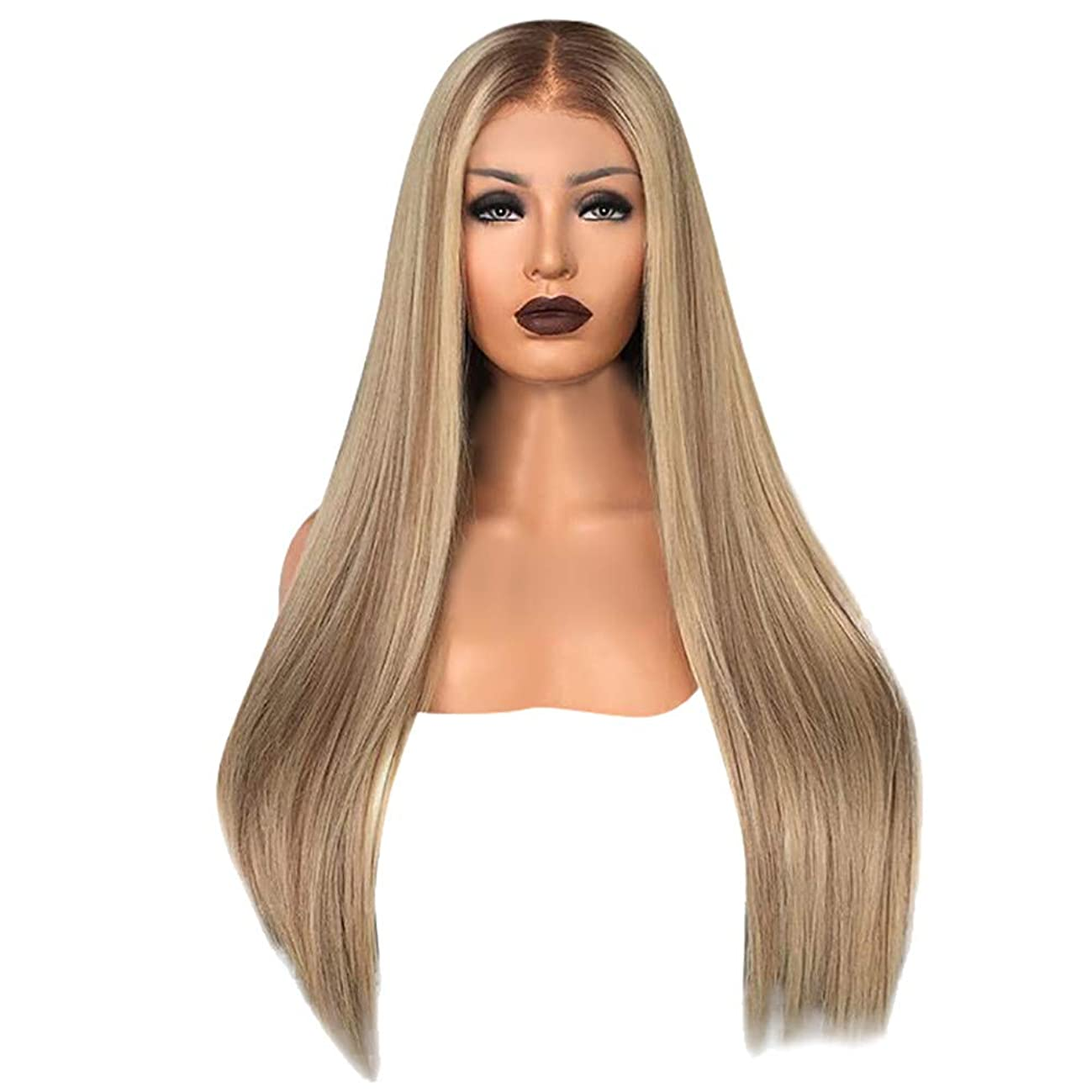 Hair Wigs, pollyhb Fashion Blonde Glueless Lace Front Wigs Long Natural Straight Heat Resistant Synthetic Hair Replacement Wig for Women