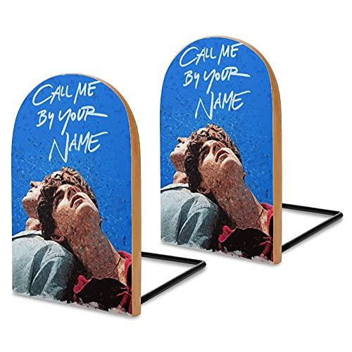 Poster cinematografico Call Me by Your Name Fermalibri per mensole, in legno Sapele per scrivania da ufficio, senza scivolo, per libri, film, DVD, libri, 13 x 8 x 4 cm