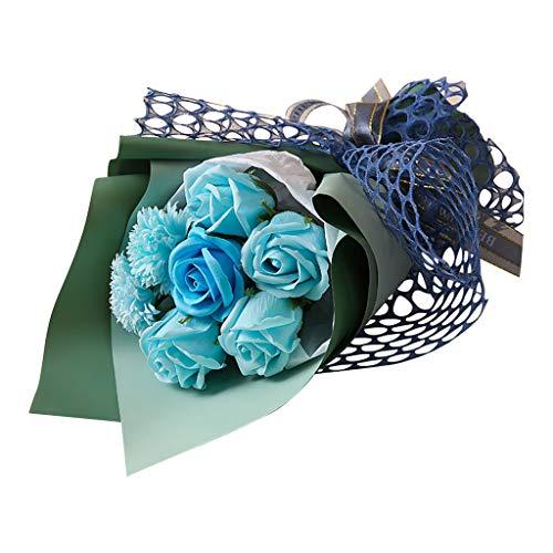 SilenceID Mazzo di Fiori Artificiali di Rose di Sapone in Borsa Regalo per San Anniversario di Compleanno di Matrimonio 7 Pezzi Rosa 11,1 × 7,9 × 1,9 Pollici Blu