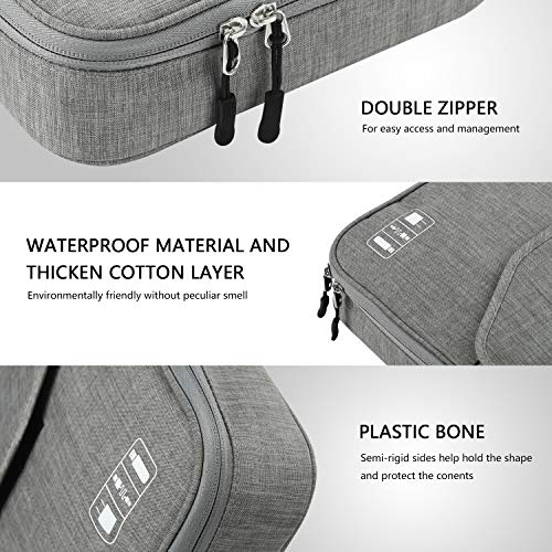 Electronics Organizer, Jelly Comb Electronic Accessories Double Layer Travel Cable Or   ganizer Cord Storage Bag for Cables, iPad (Up to 11''),Power Bank, USB Flash Drive and More-(Gray)