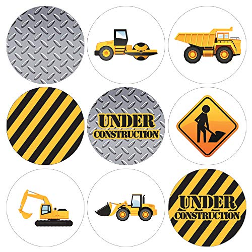 Construction Birthday Party Favor Labels - 180 Stickers