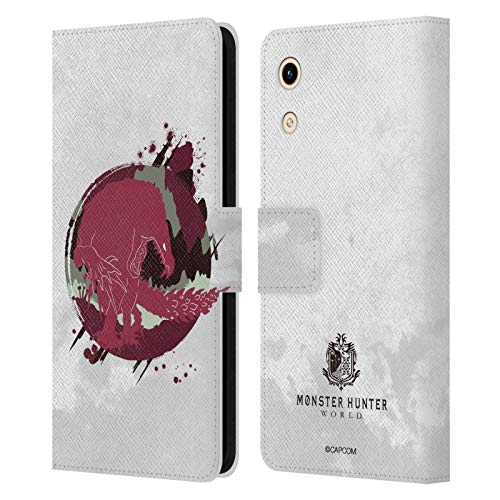 Head Hülle Designs Offizielle Monster Hunter World Odogaron Silhouetten Leder Brieftaschen Handyhülle Hülle Huelle kompatibel mit Huawei Honor Play 8A