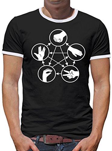 TShirt-People Camiseta para hombre con diseño de piedra, tijeras, lagarto, Spock, contraste Negro XL