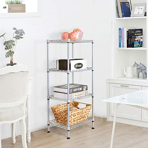 JS HANGER Wire Shelving Unit, 4-Tier Heavy Duty Height Adjustable Rolling Metal Shelves for Storage, 440 lbs Capacity, 23.23''W X 13.4''D X 47.24''H, Silver