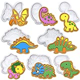 SQHOHO Dinosaur Cookie Cutters 8 Pcs Fondant Cutters Plunger Cookie Stamps Baking Molds,T-Rex, brontosaurus, Spinosaurus, Triceratops, Stegosaurus, Pterosaur