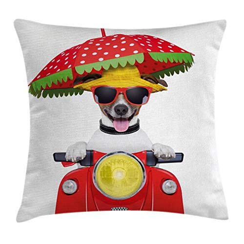 """Ambesonne Animal Throw Pillow Cushion Cover, Dog with a Hat and Sunglasses Driving Motorcycle Under an Umbrella Funny Holiday Image, Decorative Square Accent Pillow Case, 18"""" X 18"""", Red"""