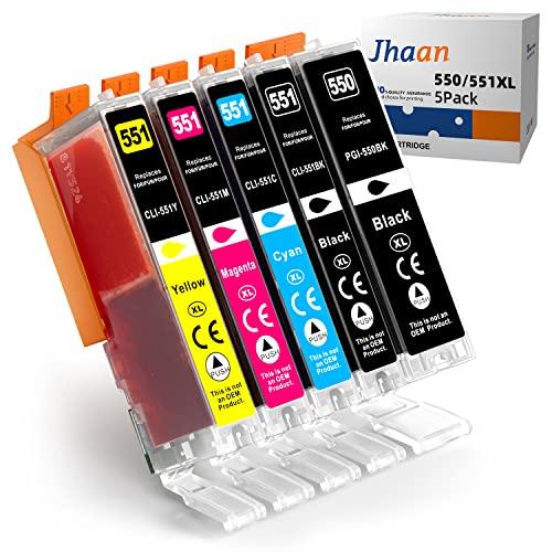 Jhaan 5 Pack 550XL 551XL Tintenpatronen Kompatibel mit Canon PGI-550 CLI-551 XL für Canon Pixma IP7250, MX925, MX725, MG5550, MG5650, MG5450, MG7550, MG6650, MG6350, MG6450, MG7150, IP8750, IX6850