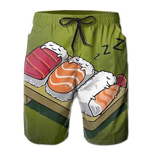 Ccsoixu Men's Kawaii Sleeping Sushi Quick Dry Summer Beach Surfing Board Shorts Swim Trunks Cargo Shorts