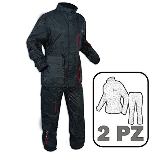 A-Pro Impermeabile 2 Pezzi Anti Pioggia Tuta Pantaloni Giacca Pantoloni Moto Nero M