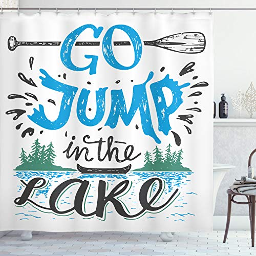 """Ambesonne Cabin Shower Curtain, Vintage Typography Inspirational Words Lake Sign Canoe Fishing Sports Theme, Cloth Fabric Bathroom Decor Set with Hooks, 70"""" Long, Black Green"""