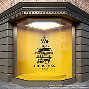 We Wish Our Customers A Very Merry Christmas Shop Window Sticker Home Decoration Store Retail Festive Display Xmas Decal