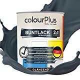 colourPlus® 2in1 Buntlack (750ml, RAL 7016 Anthrazitgrau) glänzender Acryllack - Lack für Kinderspielzeug - Farbe für Holz - Holzfarbe Innen - Made in Germany