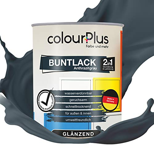 colourPlus® 2in1 Buntlack (750ml, RAL 7016 Anthrazitgrau) glänzender Acryllack - Lack für Kinderspielzeug - Farbe für Holz - Holzfarbe Innen - Made in Germany