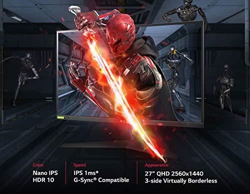 LG 27GL850-B 68,58 cm (27 Zoll) UltraGear QHD IPS Gaming Monitor (144 Hz, 1ms GTG, G-Sync, DAS Mode), Standard-Fuß, USB-Port, schwarz - 7