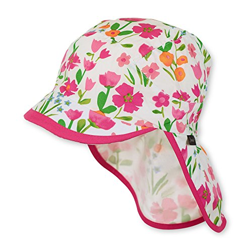Sterntaler Schirmmütze für Mädchen mit Nackenschutz und Blume-Motiv, Alter: 2-4 Jahre, Größe: 53, Weiß/ Pink