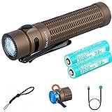 OLIGHT Warrior Mini Linterna Tactica Recargable USB 1500 lúmenes Blanca Fría, Lámpara Portátil Linterna LED Militar Impermeable IPX8 de 6 Modos, 2 Batería 18650 y caja de batería Tidusky (Desert Tan)