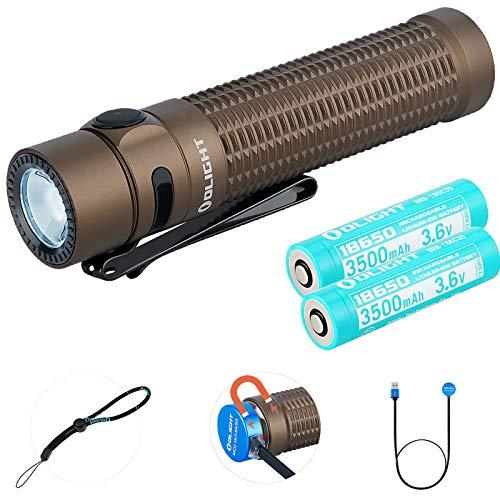 OLIGHT Warrior Mini Torcia LED Tattica Professionale 1500 lumen USB Ricaricabile Potente Torcia Portatili 5 Modalità Luminosità, con 2* Batteria 18650 e Scatola di Batterie Tidusky (Desert Tan)