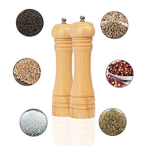 BeIM Salz und Pfeffermühle 2er Set Holz Gewürzmühle Keramikmahlwerk Salzmühle, H 21.5cm