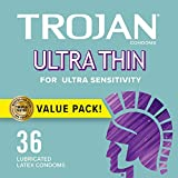 2. TROJAN Ultra Thin Condoms For Ultra Sensitivity, 36 Count, 1 Pack